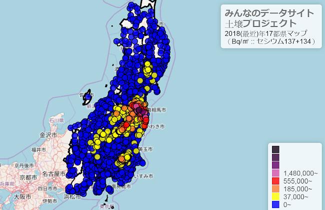 民間土壤檢測數據圖,超過車諾比標準(37,000貝克平方公尺),為放射線管理區域的部份,用黃色以上來表示。關東不少地方皆是如此。