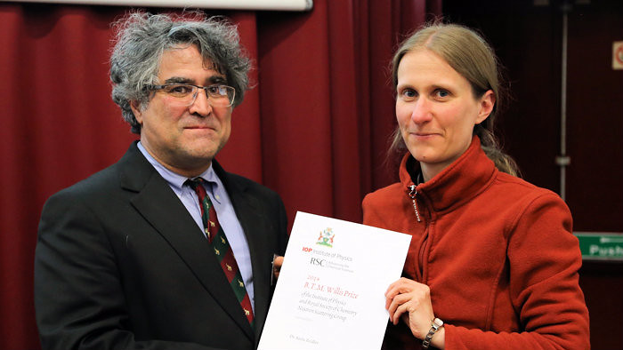 Dr Ali Zarbakhsh, Chair of the Neutron Scattering Group, with Dr Zeidler.