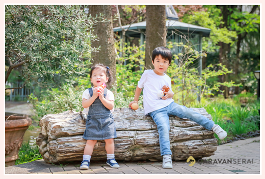 Japanese family photographer based in Nagoya, Aichi, Japan, shooting for client from Hong Kong in a park with flowers