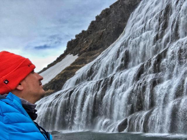 Sele ante la cascada Dynjandi (Fiordos del oeste, Islandia)