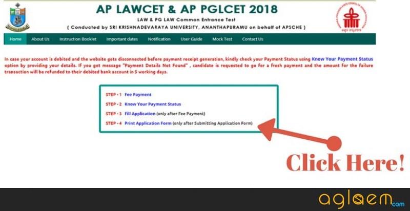Application form for AP PGLCET 2019