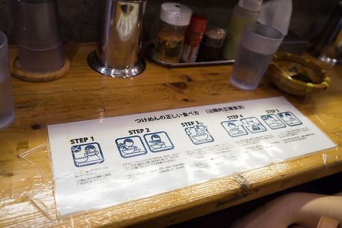 桌上寫有沾麵的吃法