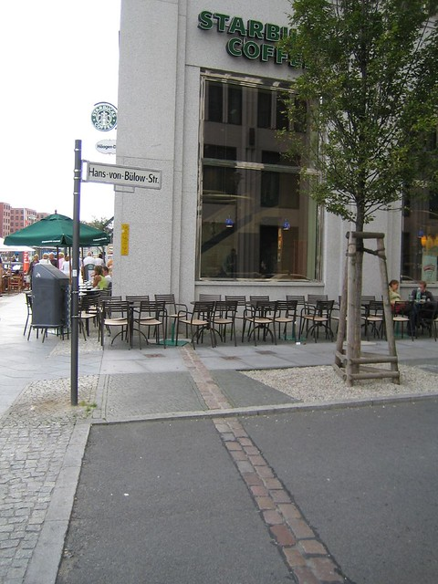 Berlin wall running through Starbucks