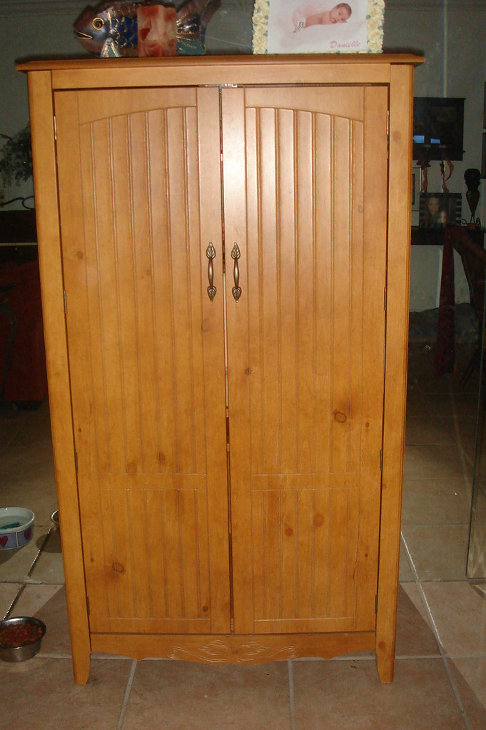 Washed Oak Computer Armoire - $110 | For Sale - sturdy ...