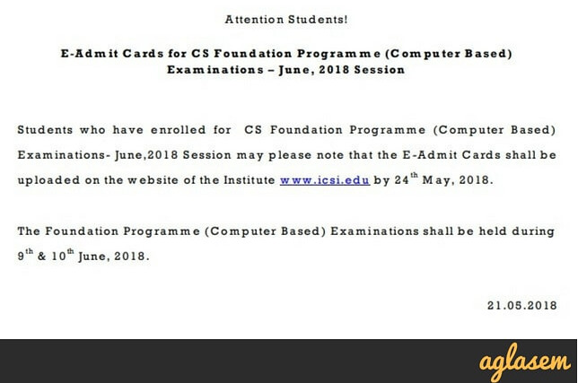 ICSI Publishes CS Admit Card 2018 For June Exams; Download Now