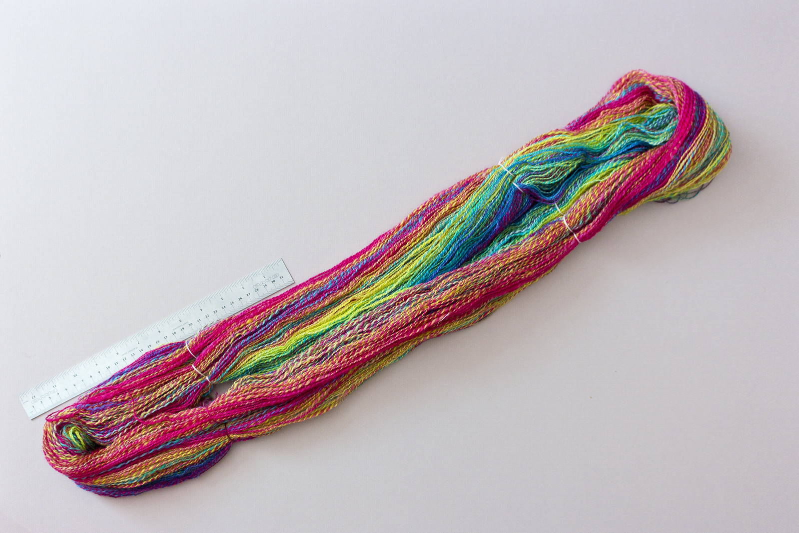 Skein of yarn made of very bright colours