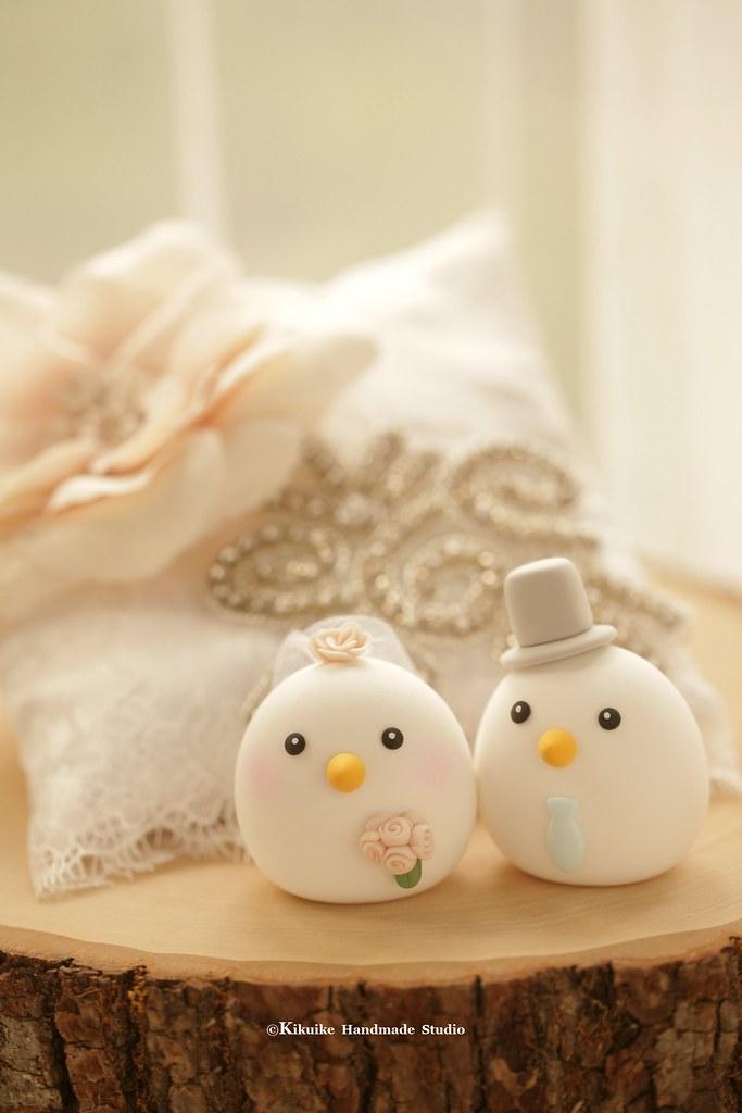love birds bride and groom MochiEgg wedding cake topper, c… | Flickr