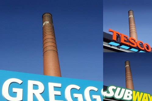 Tulketh Mill chimney and food outlets | by Tony Worrall