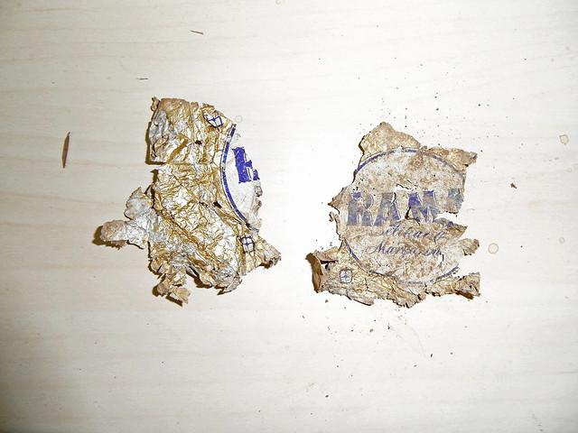 Ausgegrabene alte Verpackung aus den 1950ern von RAMA-Margarine