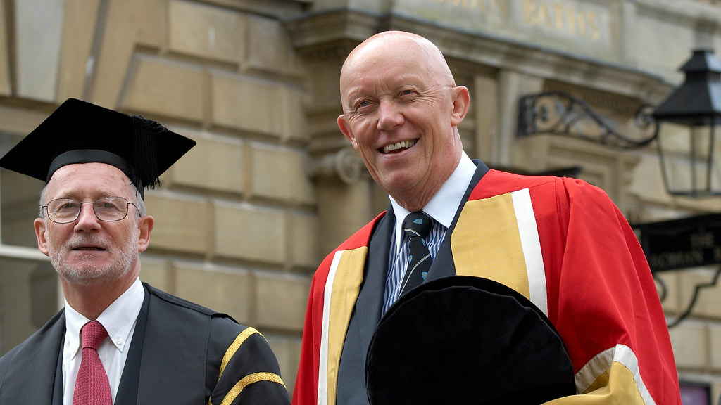 Professor Mawditt, right, at the 2008 summer degree ceremony with Professor Ian Jamieson