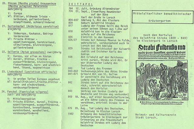 """Zum Klostergarten Lorsch - Flyer """"Mittelalterlicher benediktinischer Kräutergarten - nach dem Hortulus des Walafried Strabo"""""""