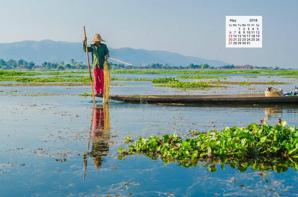 Free Download May 2018 Desktop Calendar - Fisherman Inle Lake Myanmar