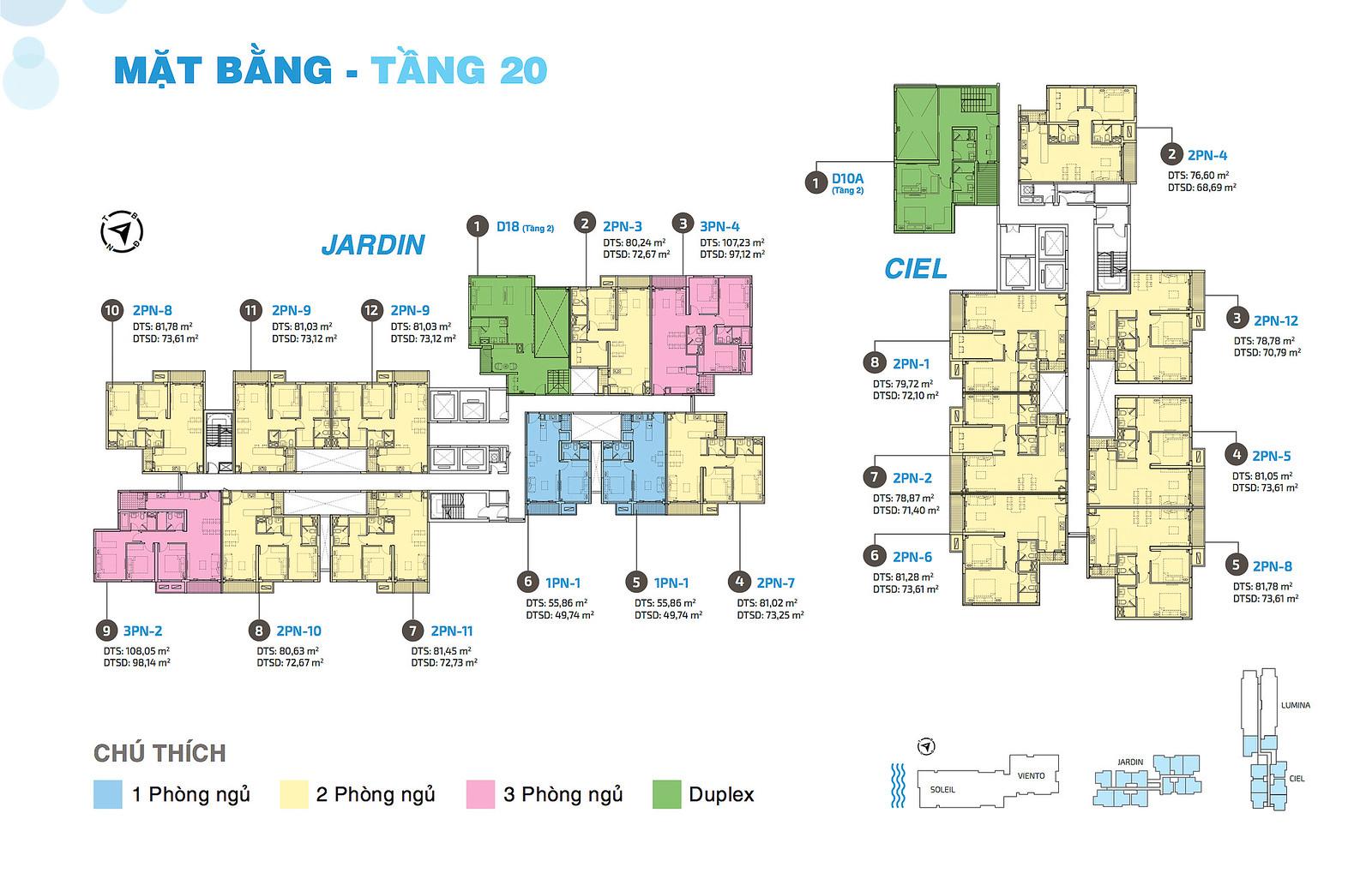 Mặt bằng tầng căn hộ One Verandah Quận 2 toà tháp Jardin và Ciel 4