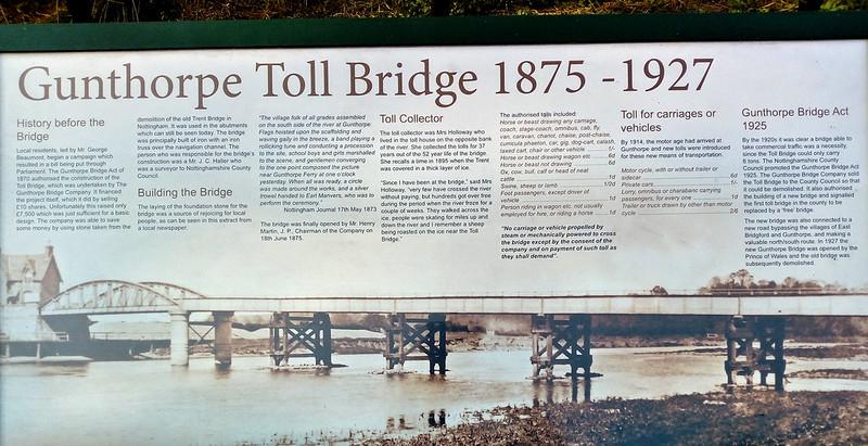 Gunthorpe Toll Bridge information board