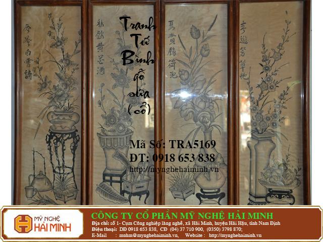 TRA5169b Tranh Tu Binh go Sua Co do go mynghehaiminh
