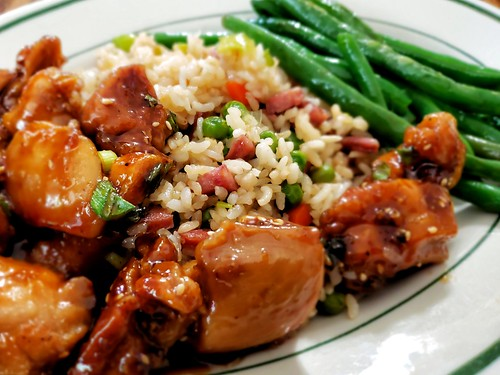 Honey sesame chicken with  fried rice and green beans | by jeffreyw