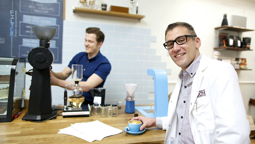Maxwell Colonna-Dashwood (L) and Dr Christopher Hendon (R) at the Colonna & Smalls coffee shop in Bath.