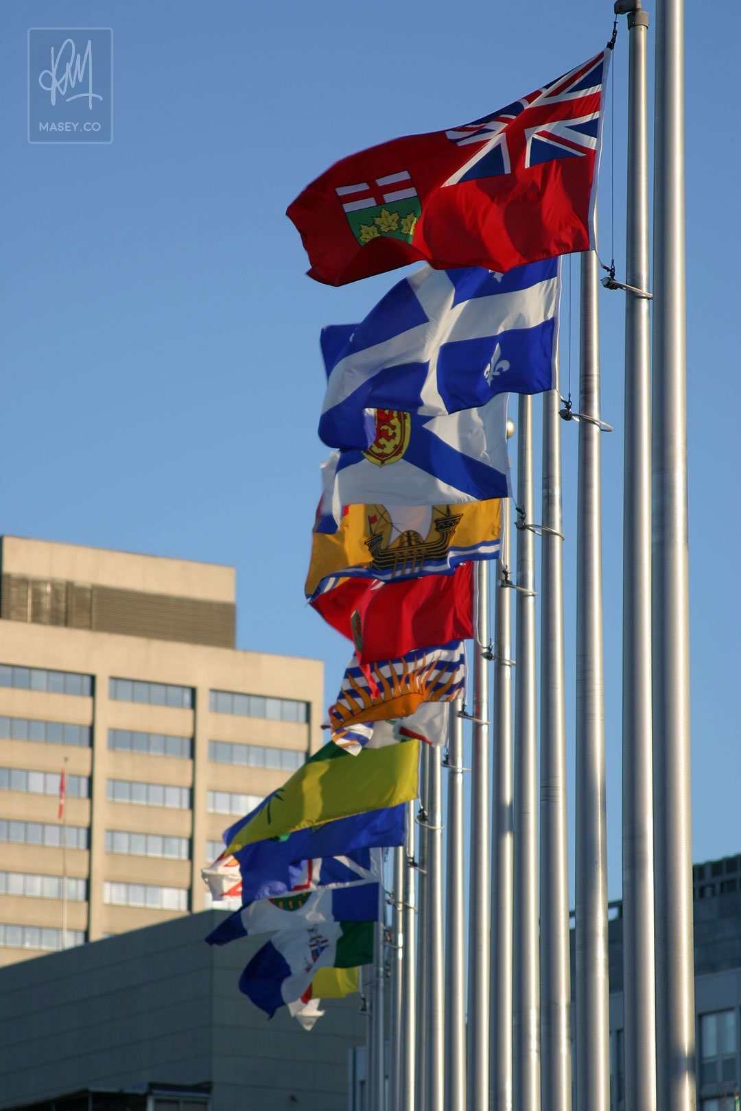 Provincial flags of Canada proudly flying