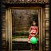 Girl with balloon at Angkor Wat, Cambodia