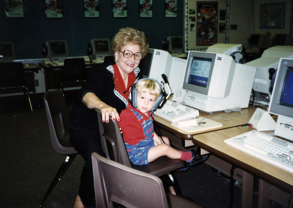 Grandma Helen and Andrew at Mom's Computer Lab 1995 | Flickr