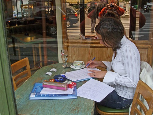 Studying in café, Paris 2006 | by Julie70 Joyoflife