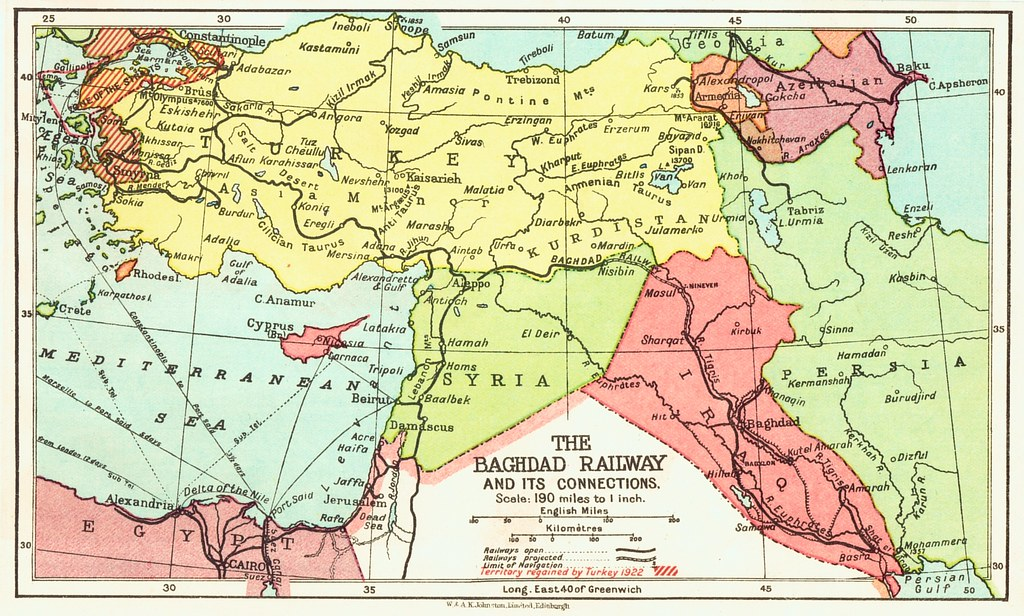 Iraq Railways - The Baghdad Railway (1922 map)   A color map…   Flickr