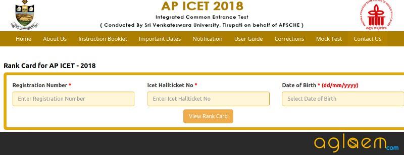 AP ICET 2018 Rank Card