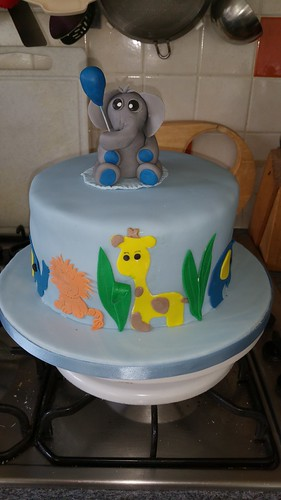 Baby blue elephant baby shower cake | by platypus1974