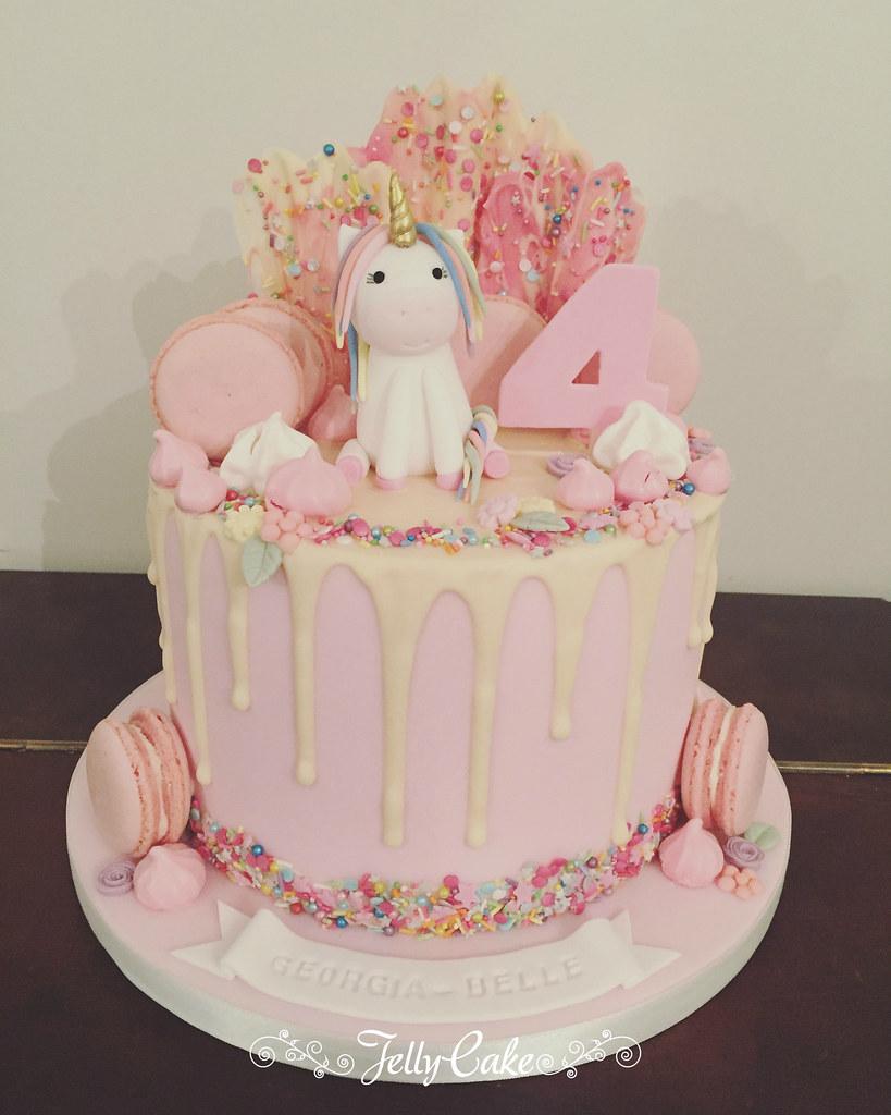 4th Birthday Unicorn Drip Cake