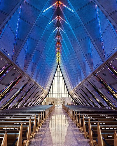 The Protestant Chapel located on the main floor of the U.S. Air Force Academy Cadet Chapel near Colorado Springs, CO. This wide shot doesn't remotely capture the height of it. The futuristic look fits the place. Smaller Catholic, Jewish, and Buddhist chap | by sebastien.barre