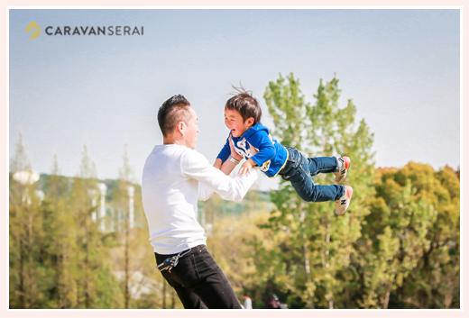 プロカメラマンが撮る幼稚園入園記念の家族の写真♪モリコロパーク(愛知県長久手市)でロケーション撮影