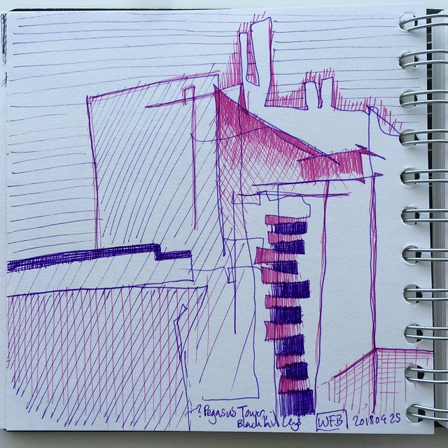 Abstract drawing of a tower block