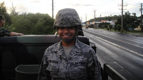 Melissa Villanueva is pictured wearing her military fatigues