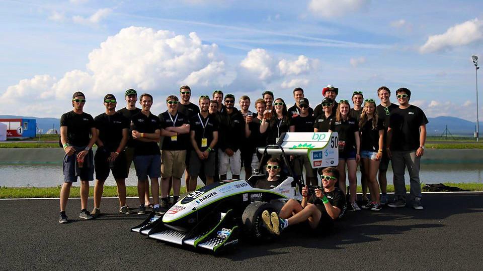 The Bath racing team with their race car