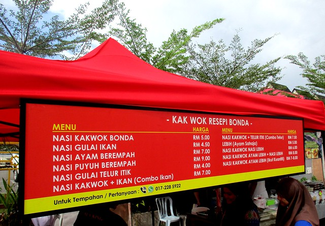 Nasi kak wok stall, menu