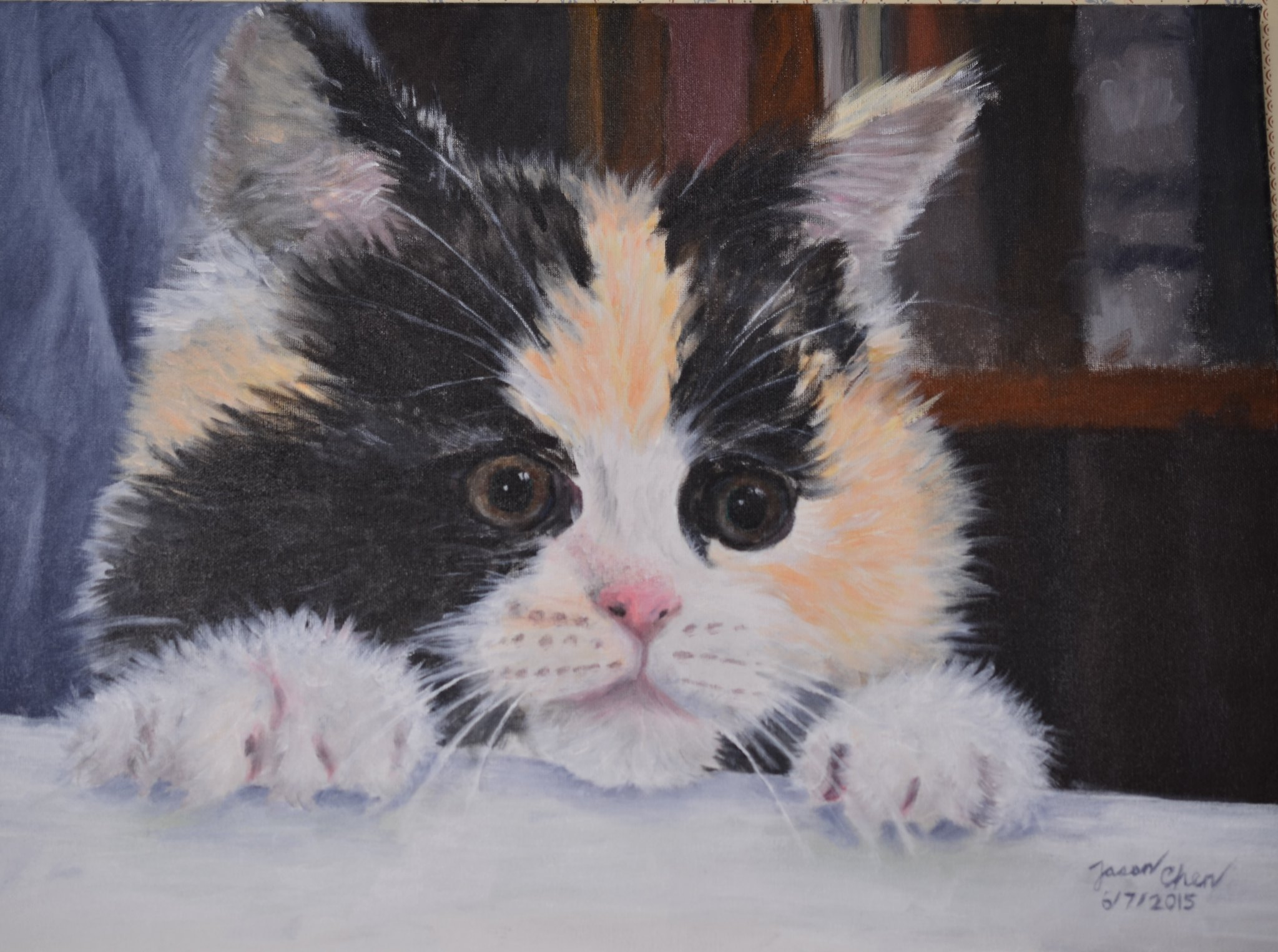 A painting (acrylic) of a cat, finished June 7, 12015