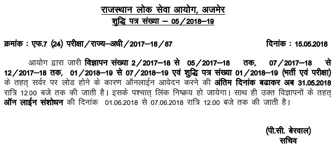RPSC SI Application Form 2018 - Apply Online for Rajasthan Police SI Recruitment