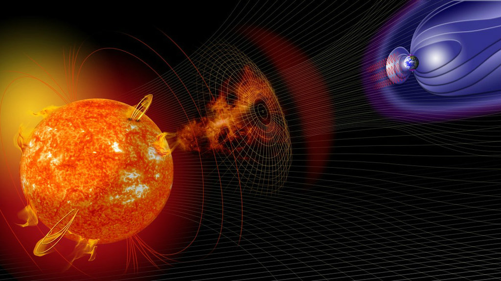 Space weather can interfere with communications, damage satellites and overload electrical grids (courtesy of NASA)