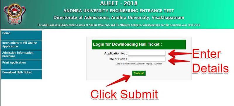 AUEET Hall Ticket 2018