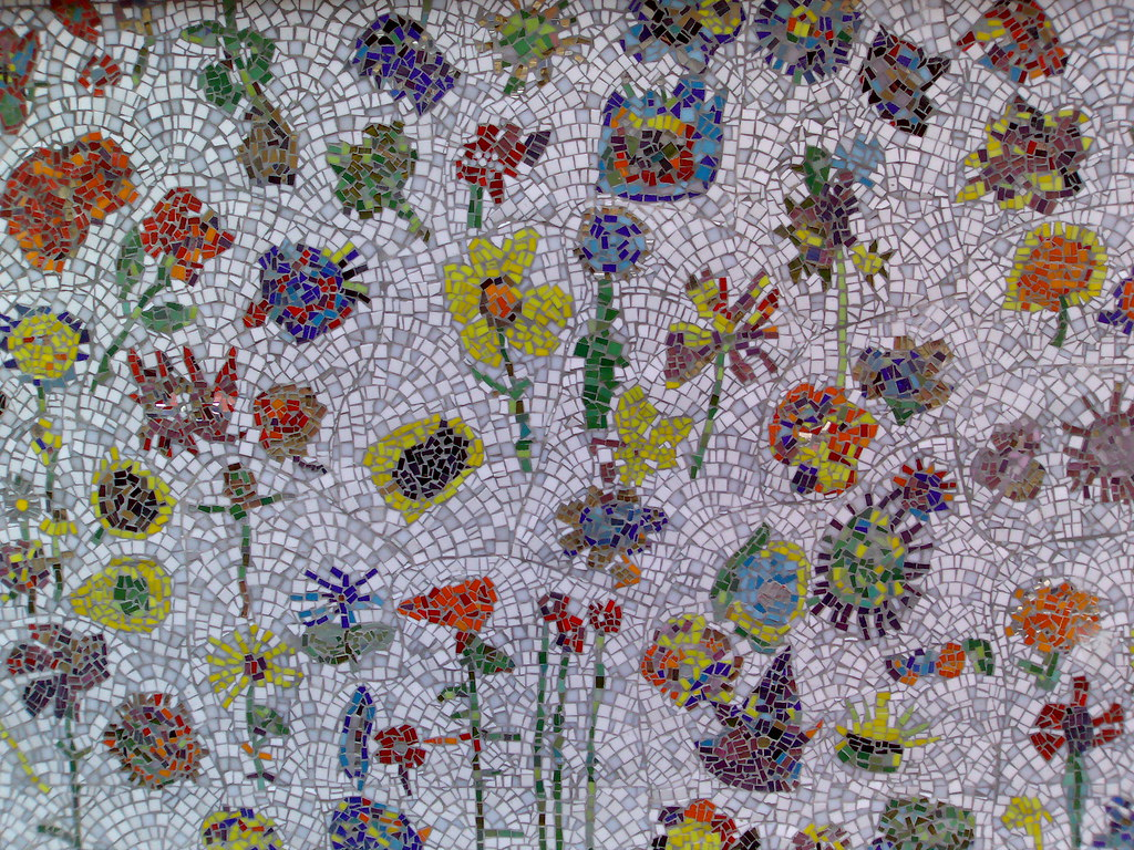 Floral mosaic mural near Columbia Road flower market