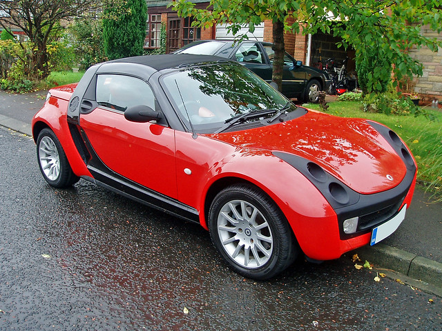 Red Smart Roadster Smart Roadster Red In The Wet Parked Up Glen
