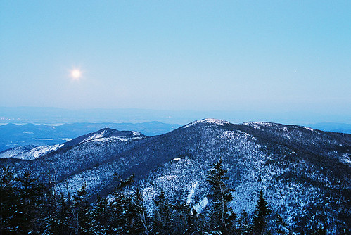 Blue Moonrise Over Bald Peak and Lake Champlain | by Mountain Visions