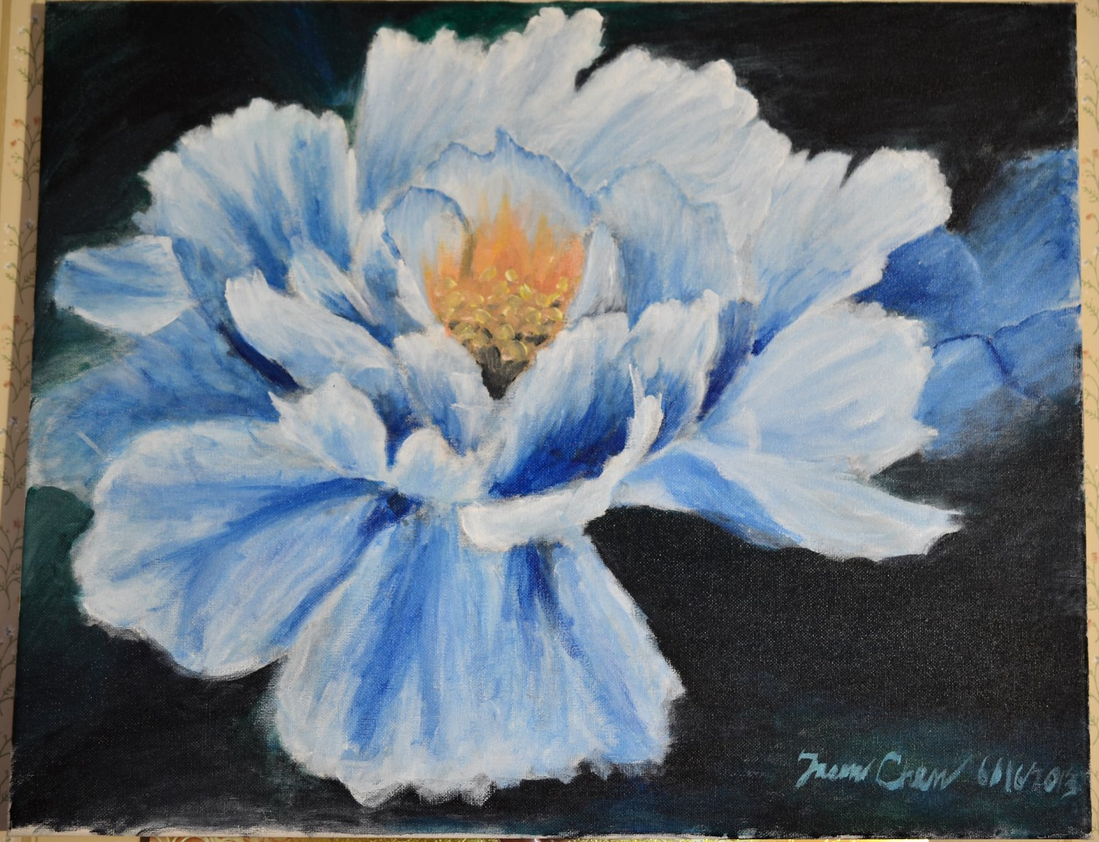 A painting (acrylic) of a flower, finished June 16, 12013