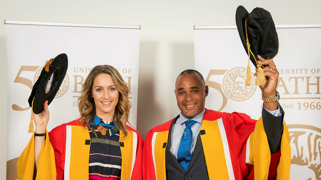 Olympic Gold medallists Amy Williams MBE and Jason Gardener MBE were today, Friday 23 June, awarded honorary degrees from the University of Bath.