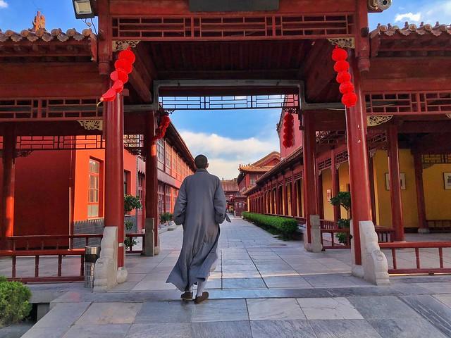 Monje zen en el monasterio Bailin (China)