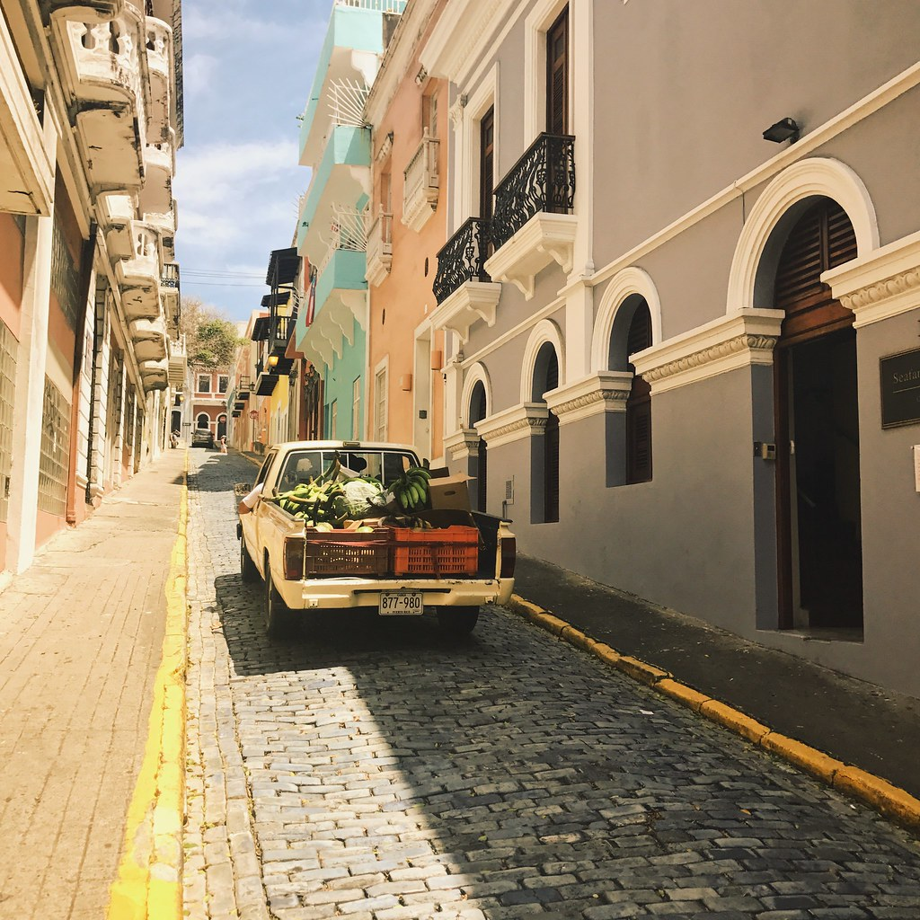 truck filled with plantains in Old San Juan