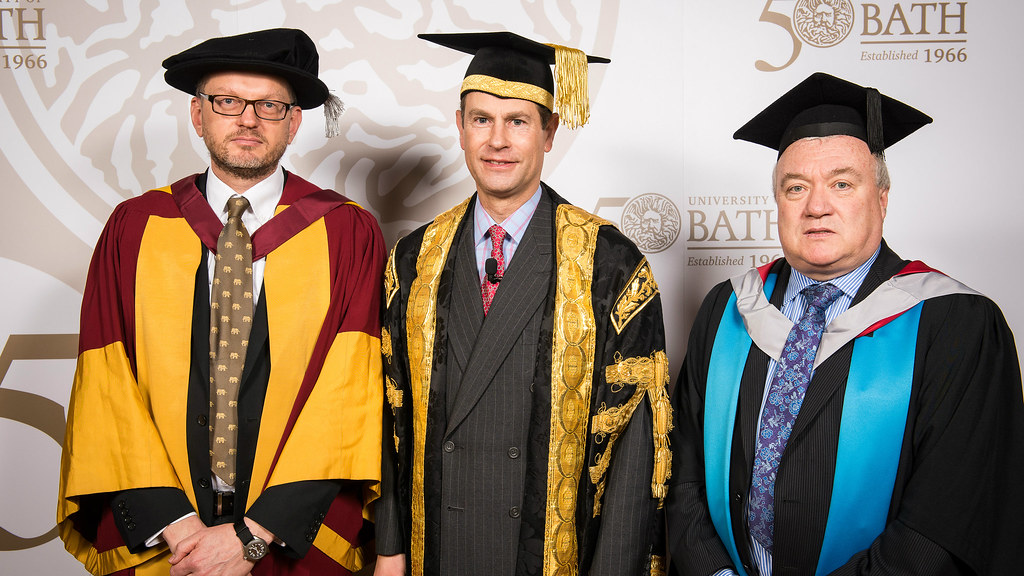 Professor Chris Brace; the Chancellor, HRH The Earl of Wessex; and Professor Gary Hawley.