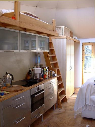 Yurt ikea kitchen and mezzanine michelle rumney flickr for Yurt bathroom designs