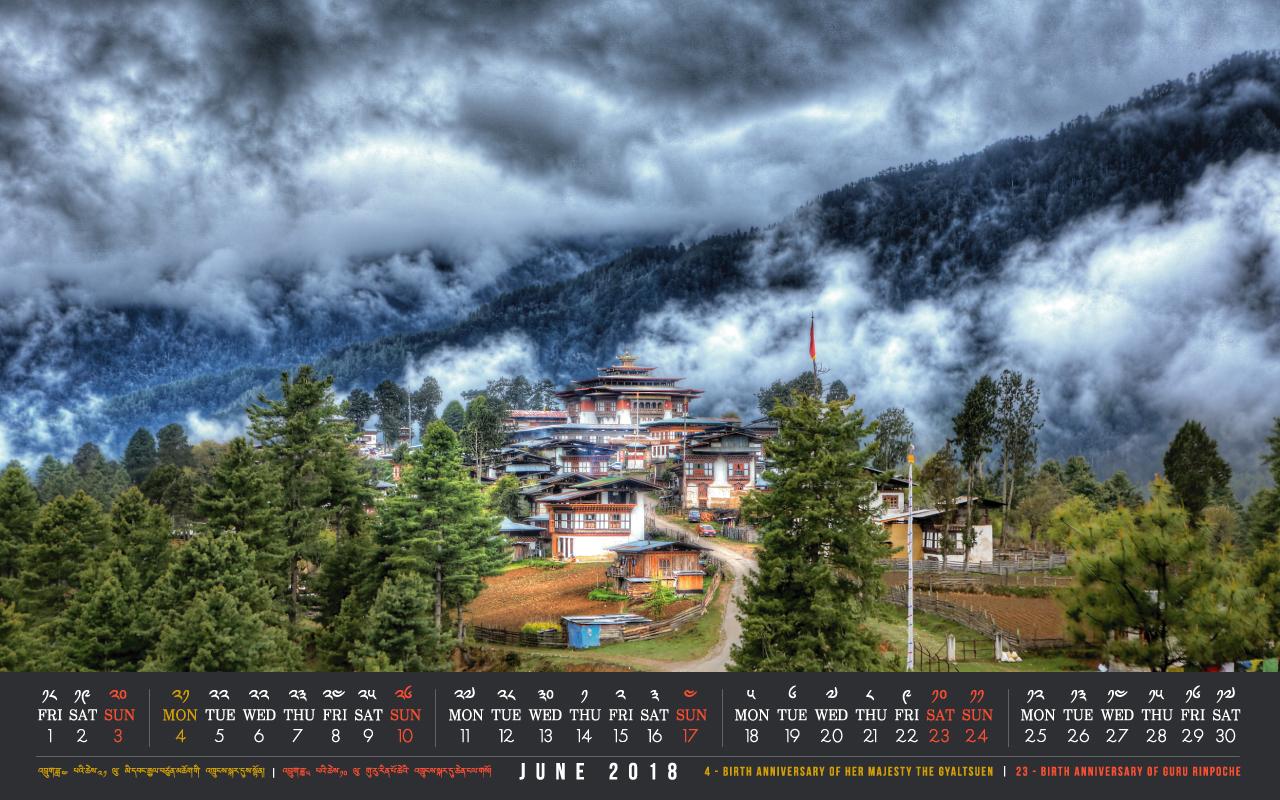 Bhutan calendar: June 2018