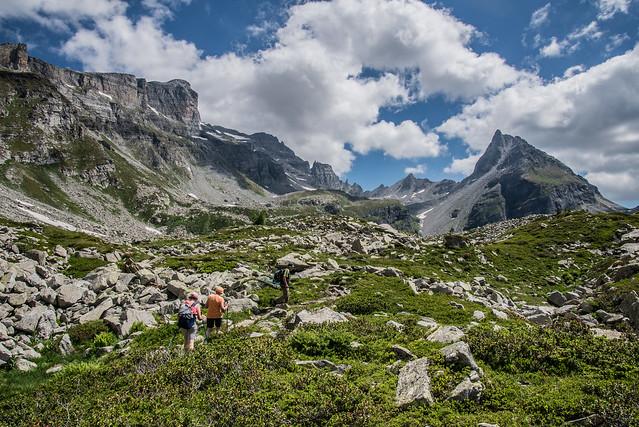 Salendo al Lago Bianco - Vista su Pizzo Moro, Piodelle eTorre Vitali
